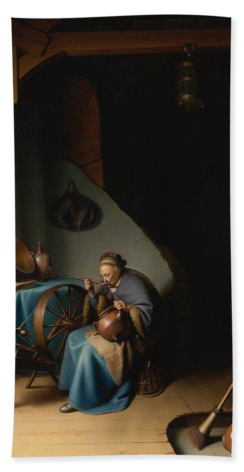 Baroque Bath Sheet featuring the painting Woman Eating Porridge by Gerrit Dou
