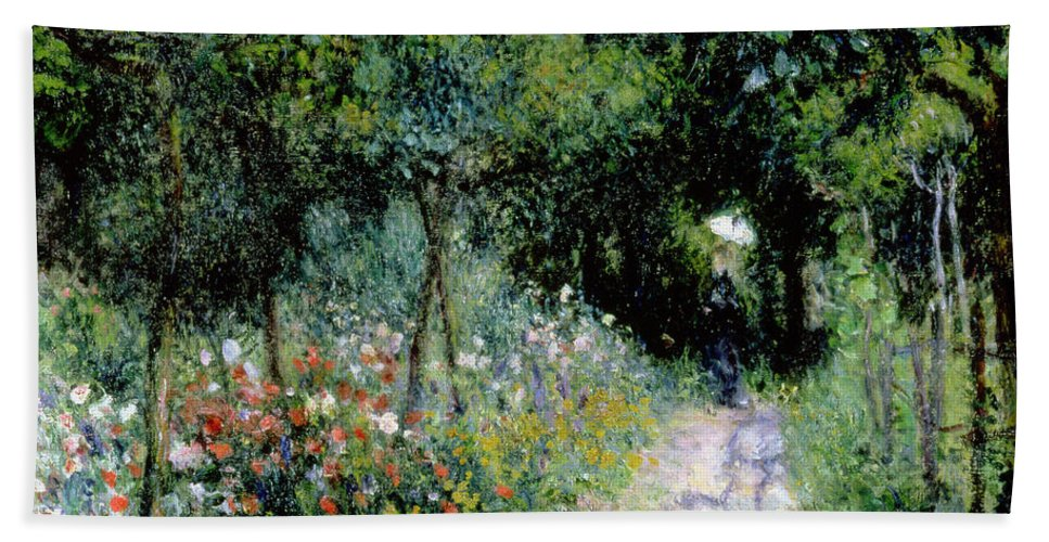 Woman; Lady; Path; Lush; Summer; Wild; Overgrown; Parasol; Female Bath Towel featuring the painting Woman In A Garden by Pierre Auguste Renoir