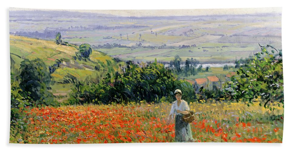 Woman In A Poppy Field (oil On Canvas) By Leon Giran-max (c.1870-1927) Bath Sheet featuring the painting Woman In A Poppy Field by Leon Giran Max