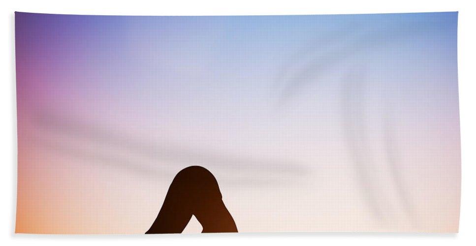 Yoga Bath Sheet featuring the photograph Woman In Dolphin Yoga Pose Meditating At Sunset by Michal Bednarek