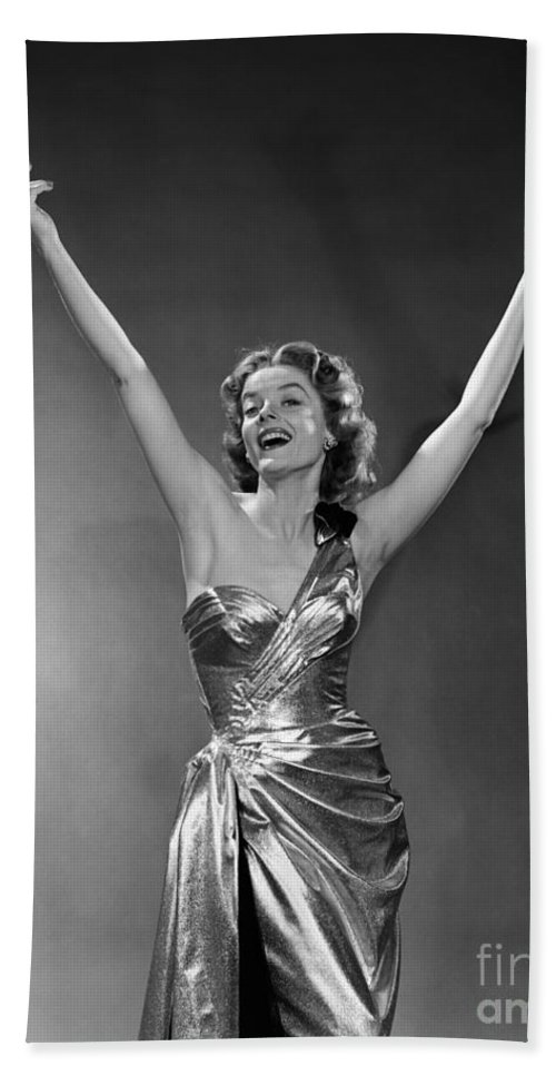 1950s Bath Sheet featuring the photograph Woman In Metallic Dress, C.1950s by Debrocke/ClassicStock