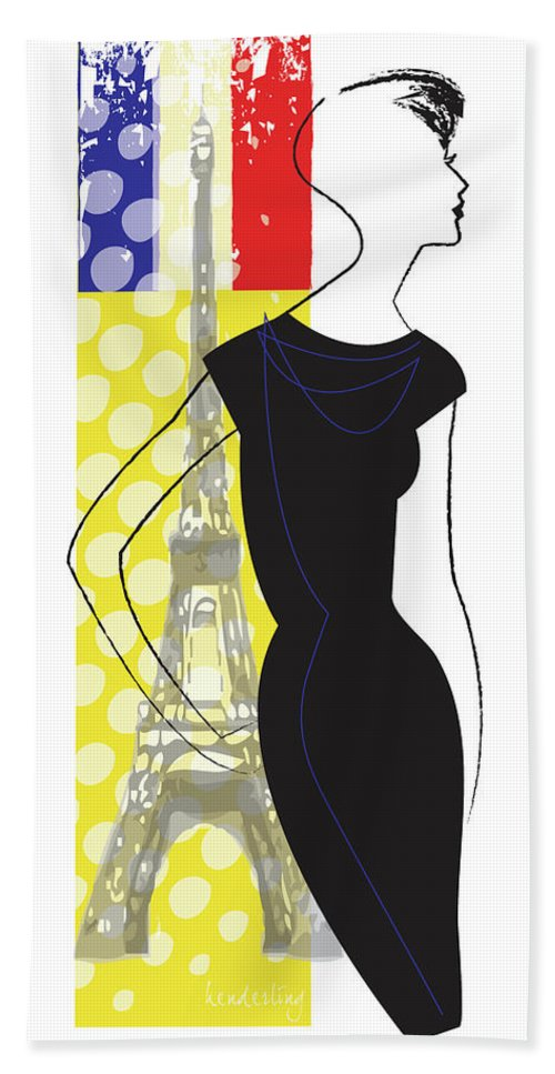 Paris Hand Towel featuring the digital art Woman In Paris With Effiel Tower by Lisa Henderling