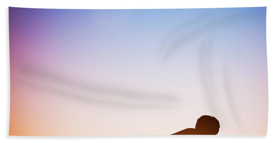 Yoga Bath Sheet featuring the photograph Woman In Plank Yoga Pose Meditating At Sunset by Michal Bednarek