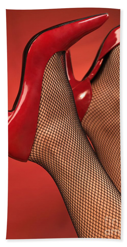 Shoes Bath Sheet featuring the photograph Woman In Red High Heel Shoes by Oleksiy Maksymenko