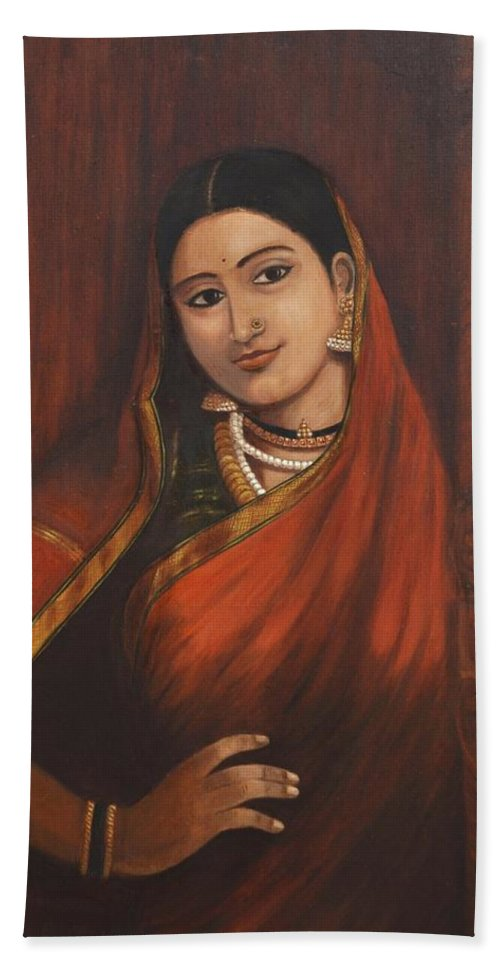 Woman Bath Towel featuring the painting Woman In Saree - After Raja Ravi Varma by Usha Shantharam