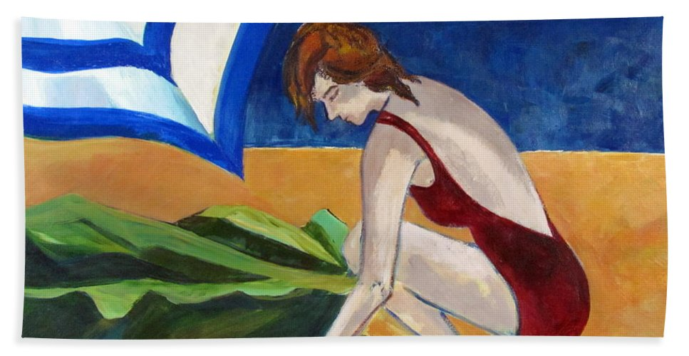 Beach Hand Towel featuring the painting Woman On The Beach by Betty Pieper