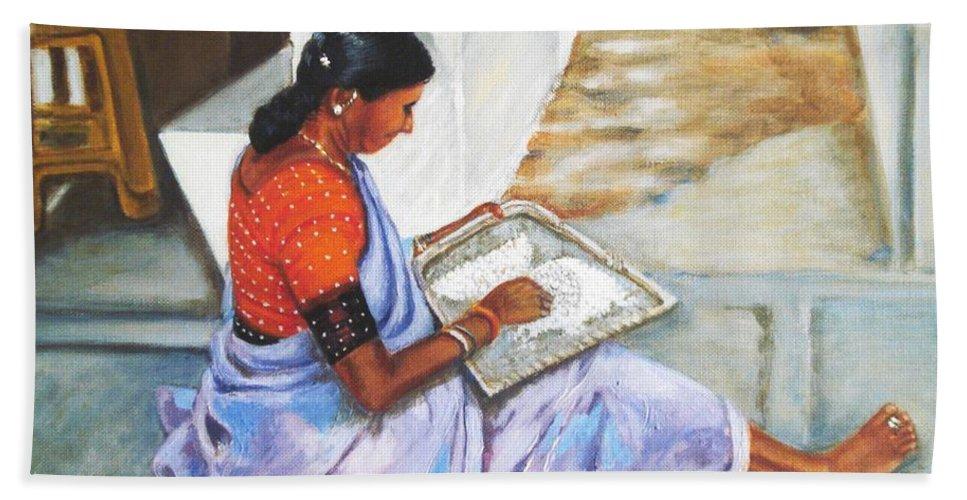 Usha Hand Towel featuring the painting Woman Picking Rice by Usha Shantharam