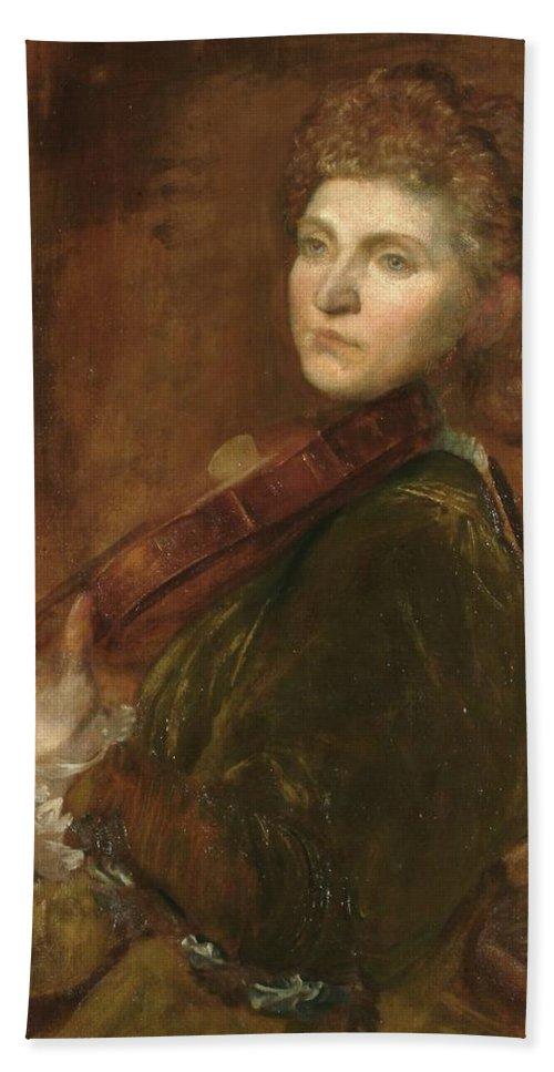 Lady Hallé (woman Playing Violin) Hand Towel featuring the painting Woman Playing Violin by G F Watts