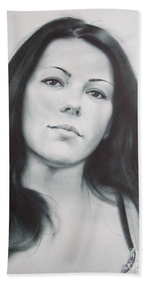 Art Bath Sheet featuring the drawing Woman by Sergey Ignatenko