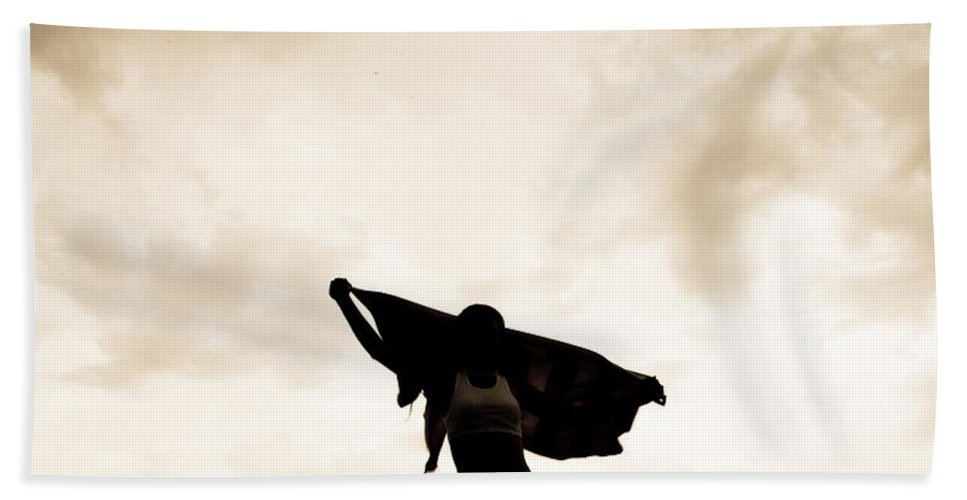 Cloud Hand Towel featuring the photograph Woman Sillhouette by Scott Sawyer