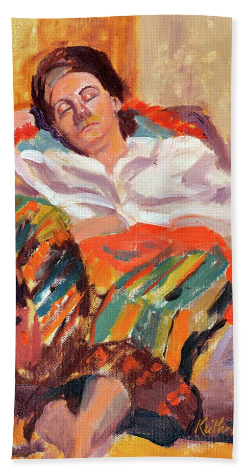 Portrait Hand Towel featuring the painting Woman Sleeping by Keith Burgess