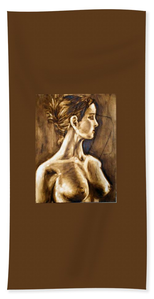 Hand Towel featuring the painting Woman by Thomas Valentine