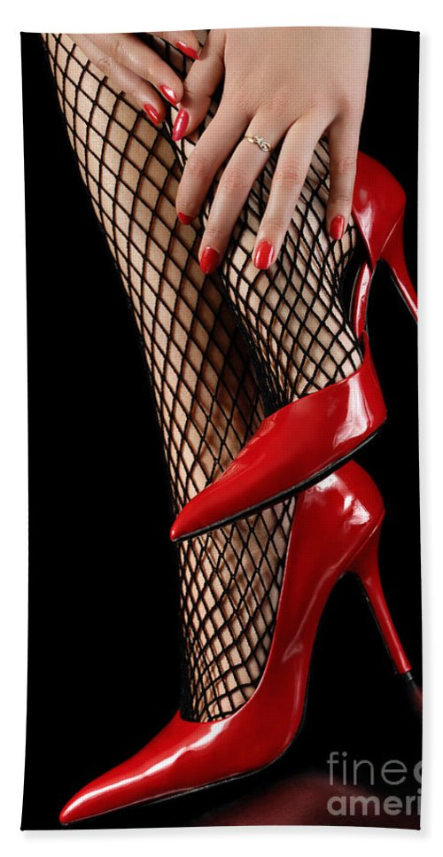 Shoes Hand Towel featuring the photograph Woman Wearing Red Sexy High Heels by Oleksiy Maksymenko