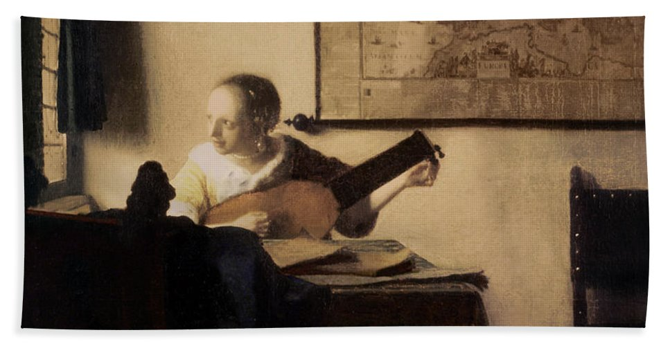 Woman With A Lute Bath Sheet featuring the painting Woman With A Lute by Jan Vermeer
