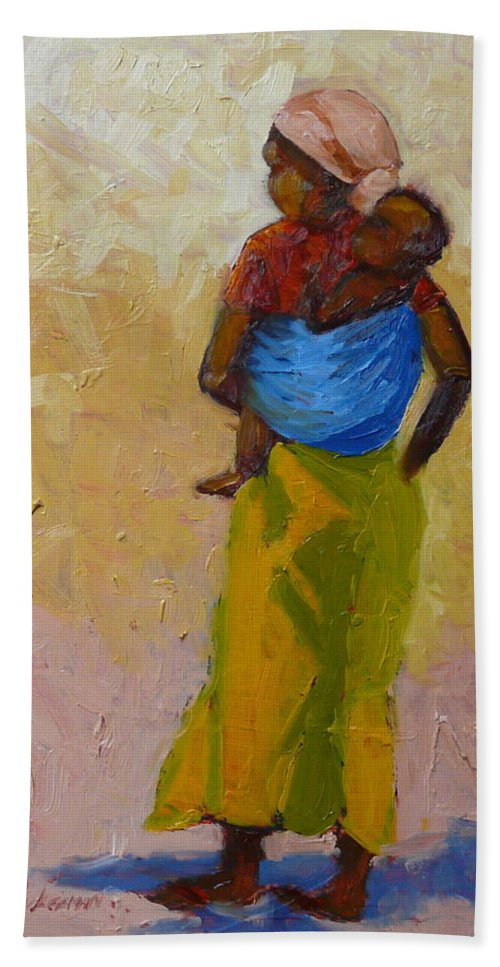 Figures Hand Towel featuring the painting Woman With Baby by Yvonne Ankerman