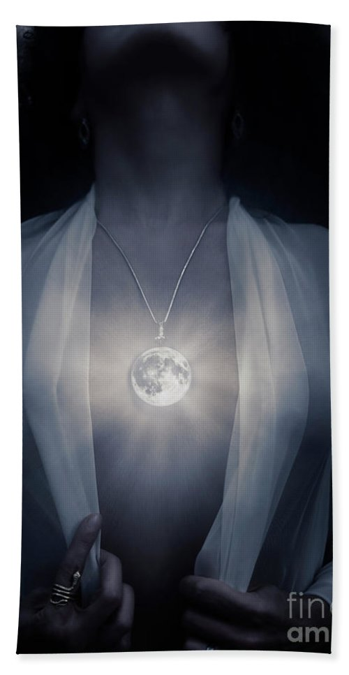 Woman with glowing full moon pendant on her chest bath towel for full moon bath towel featuring the photograph woman with glowing full moon pendant on her chest mozeypictures Gallery