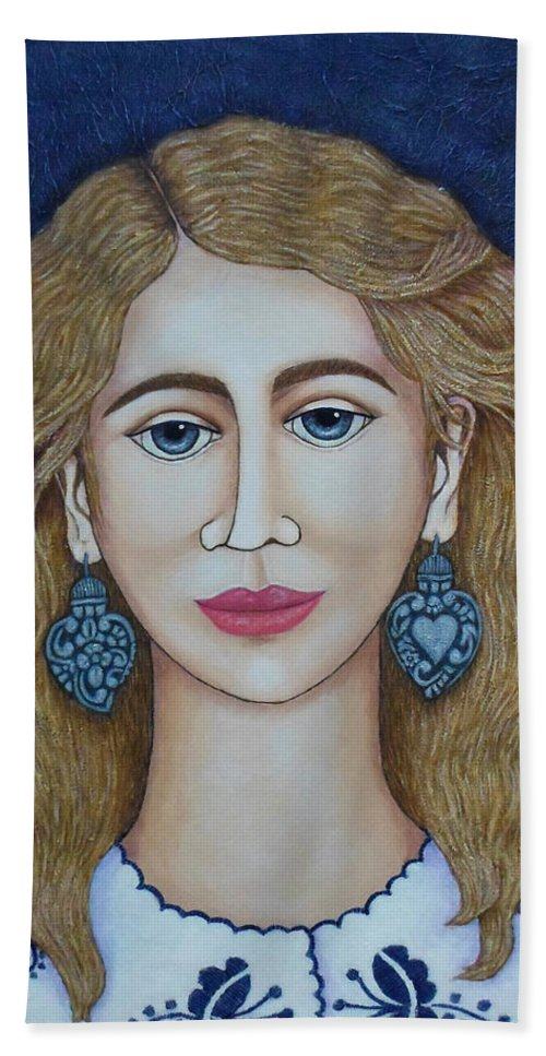 Woman Hand Towel featuring the painting Woman With Silver Earrings by Madalena Lobao-Tello
