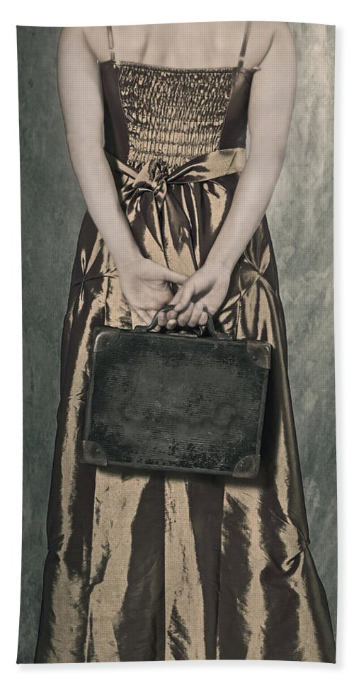Female Bath Towel featuring the photograph Woman With Suitcase by Joana Kruse