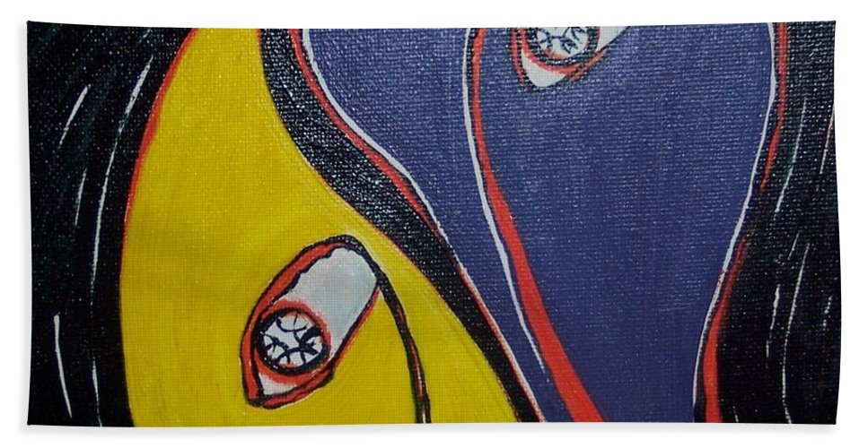 Yellow Paintings Hand Towel featuring the painting Woman21 by Seon-Jeong Kim