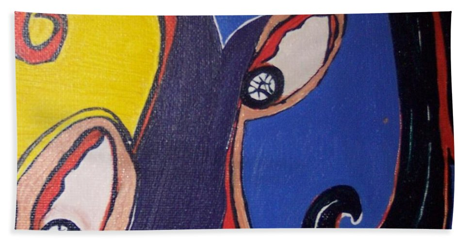 Abstract Paintings Bath Sheet featuring the painting Woman30 by Seon-Jeong Kim