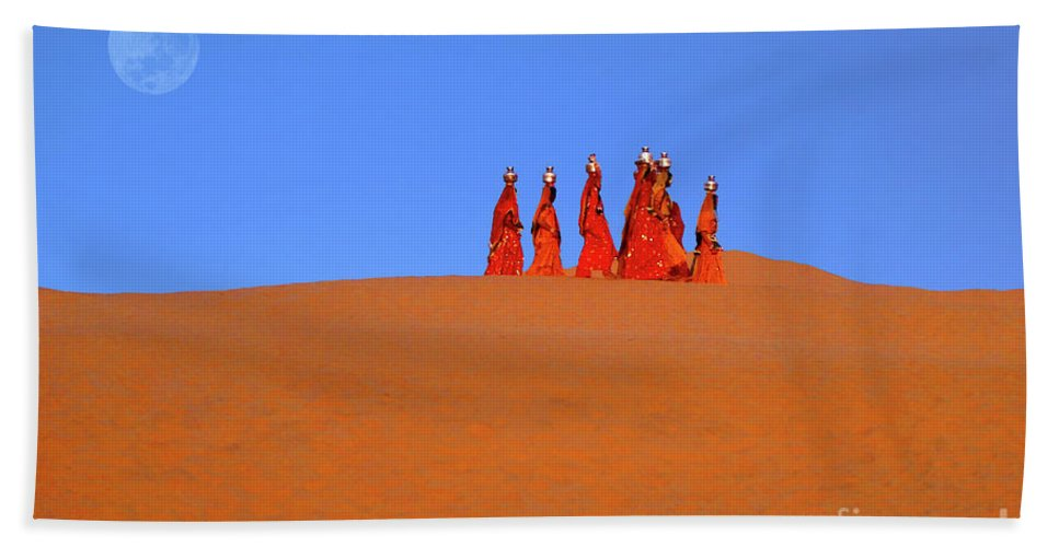 India Hand Towel featuring the photograph Women Carrying Water In The Thar Desert - Rajasthan, India. by Ulysse Pixel