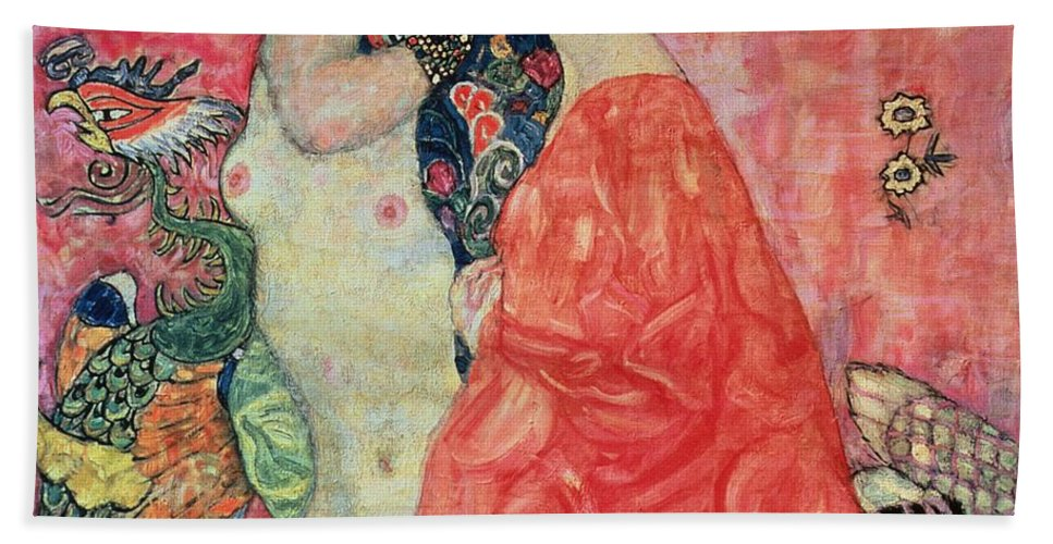 Women Hand Towel featuring the painting Women Friends by Gustav Klimt