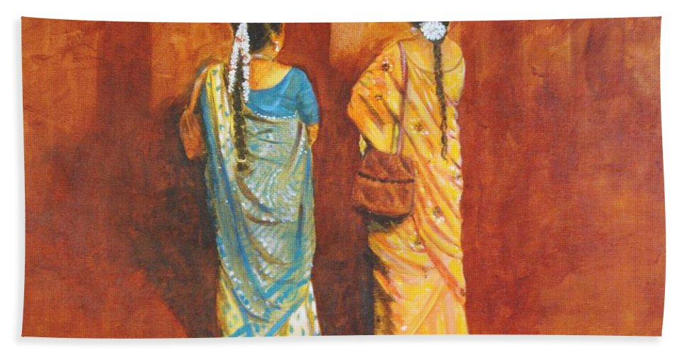 Women Bath Sheet featuring the painting Women In Sarees by Usha Shantharam