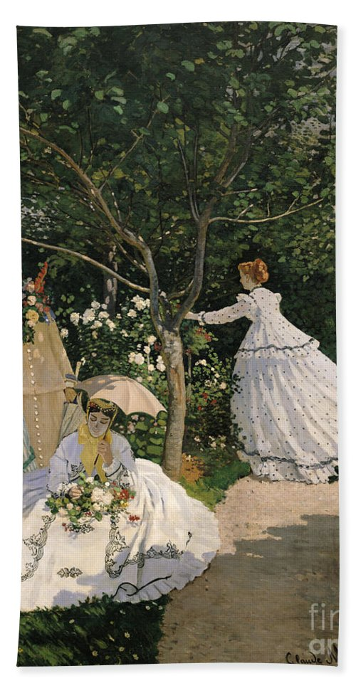 Women Hand Towel Featuring The Painting Women In The Garden By Claude Monet