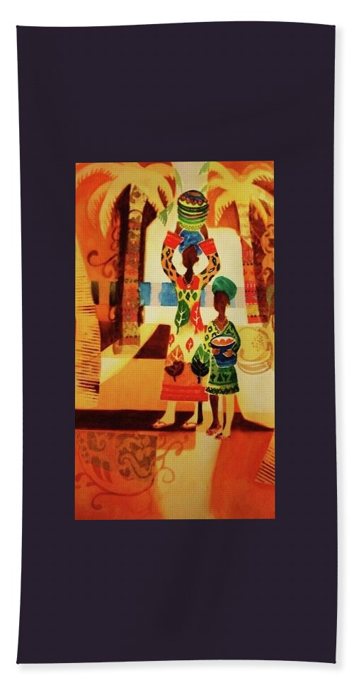 Women Bath Sheet featuring the painting Women With Baskets by Marilyn Jacobson