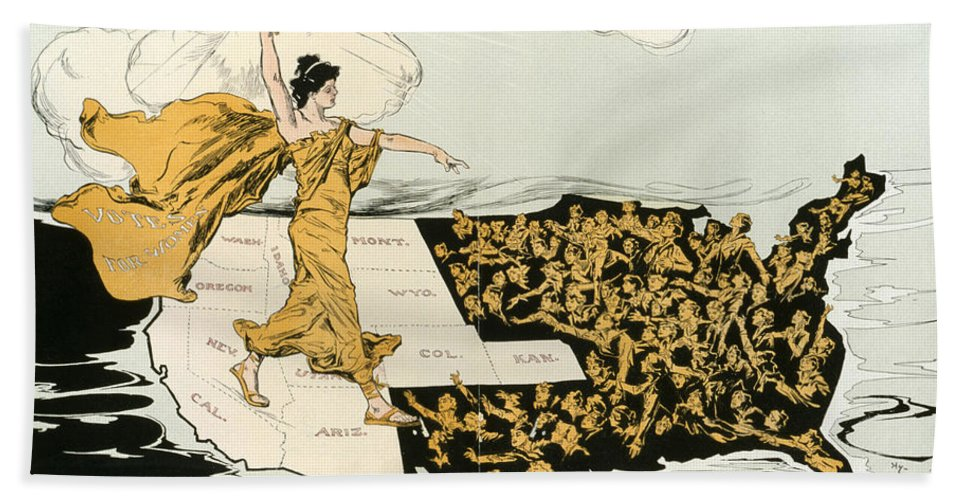 1915 Hand Towel featuring the photograph Womens Suffrage, 1915 by Granger
