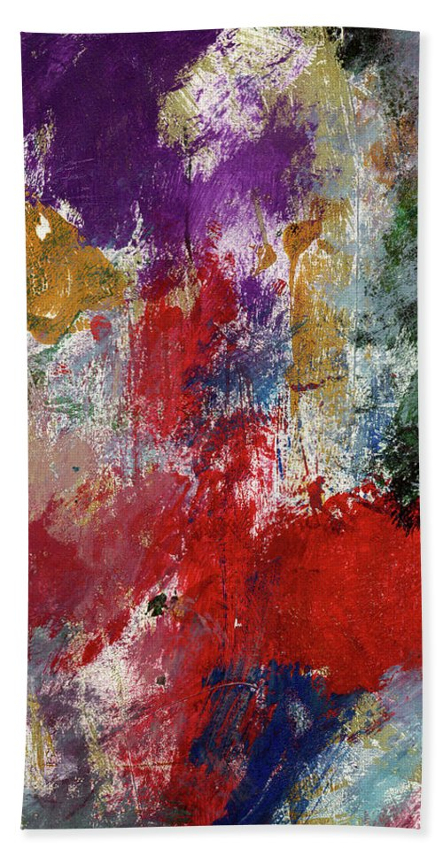 Abstract Hand Towel featuring the painting Wonderland 3- Art By Linda Woods by Linda Woods
