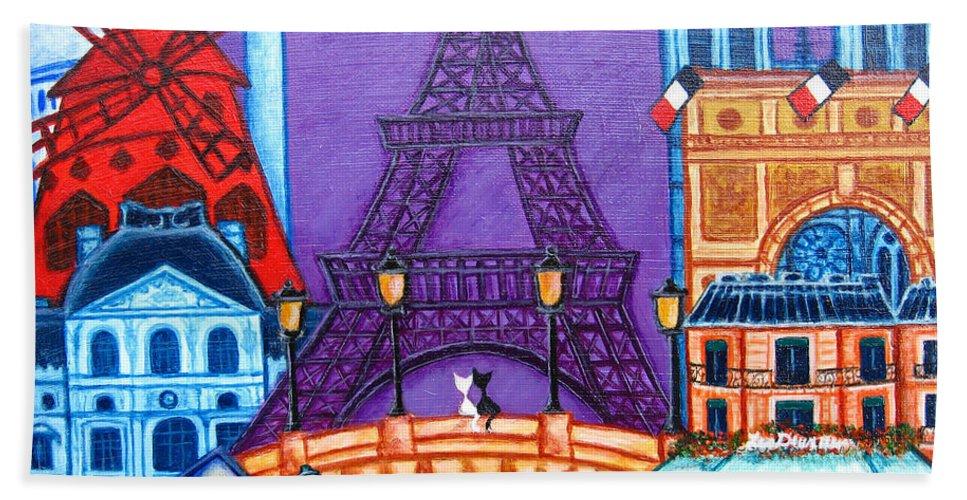 Paris Hand Towel featuring the painting Wonders Of Paris by Lisa Lorenz