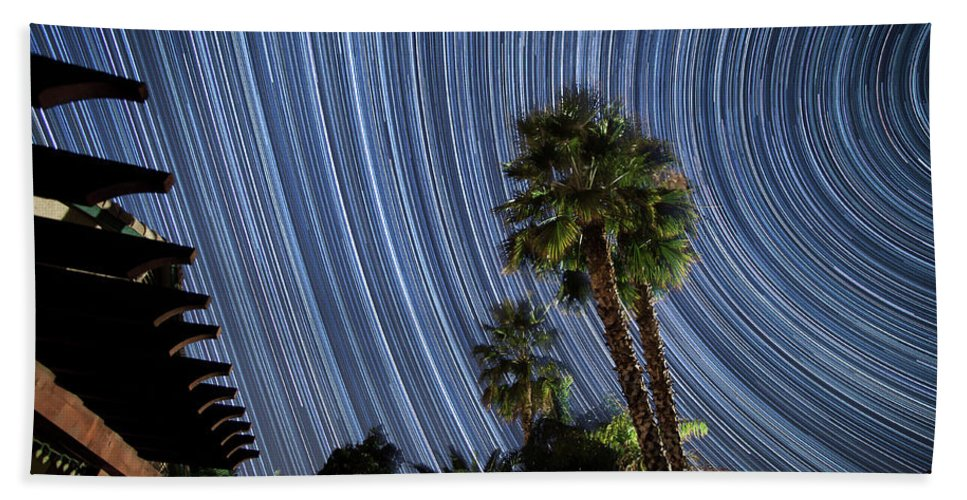 Star Trails Bath Sheet featuring the photograph Wonky Star Trails by Philip Cruden