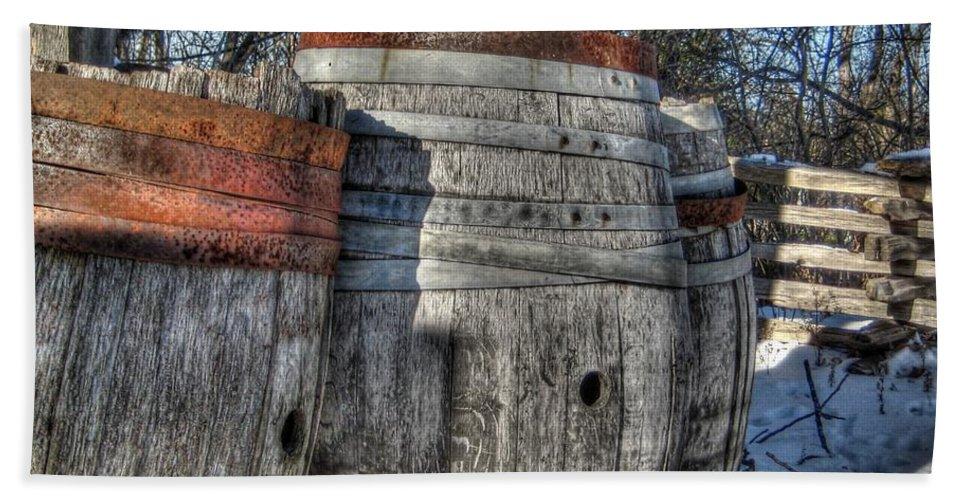 Barrel Bath Sheet featuring the photograph Wood Barrel Oak Fermentation Whiskey Bourbon Cask Winter Snow Wood Faust Park by Jane Linders