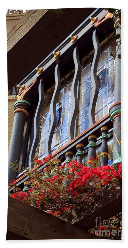 Architectural Bath Sheet featuring the photograph Wood Beams Red Flowers And Blue Window by James Eddy