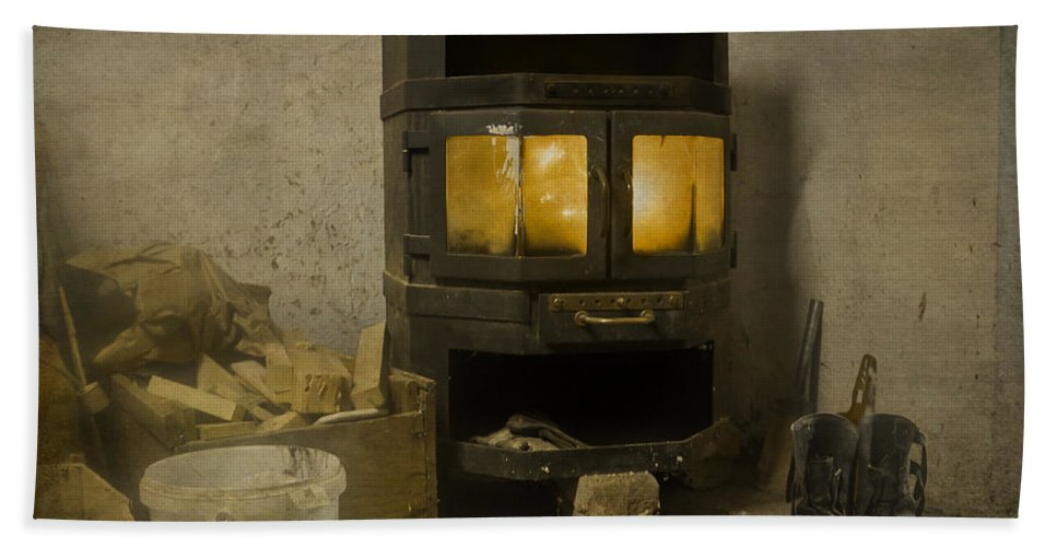 Stove Bath Sheet featuring the photograph Wood Burning Stove by Alex Art and Photo