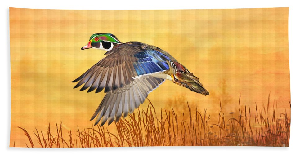 Duck Bath Sheet featuring the photograph Wood Duck In Flight by Laura D Young
