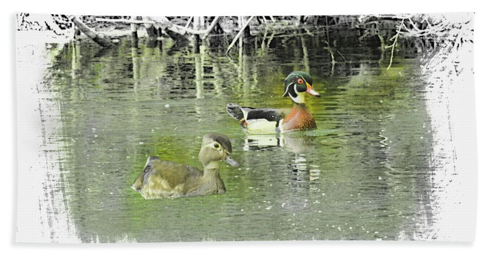 Aix Sponsa Bath Sheet featuring the digital art Wood Duck Pair Swimming. by Rusty R Smith