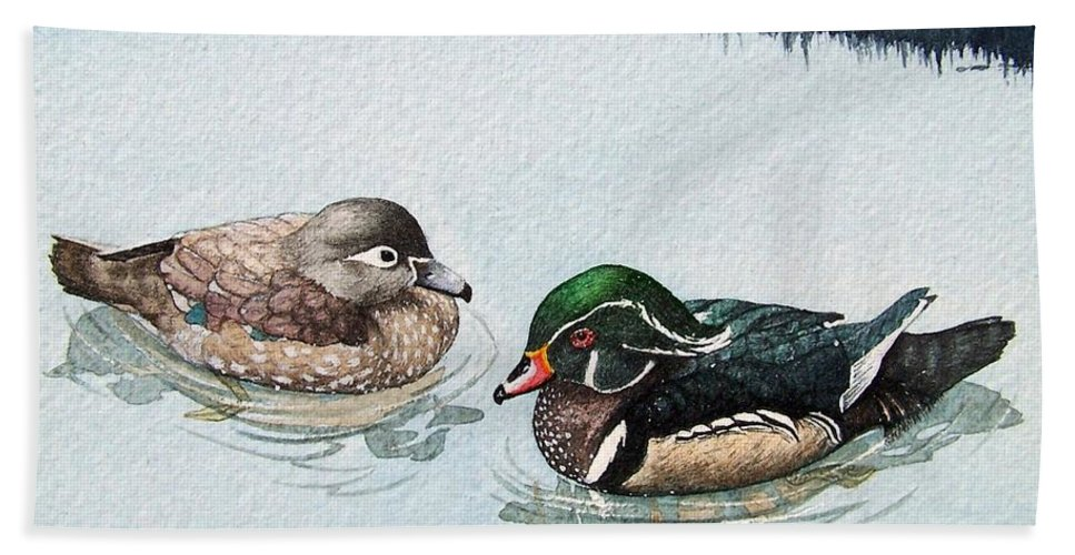Ducks Hand Towel featuring the painting Wood Ducks by Gale Cochran-Smith