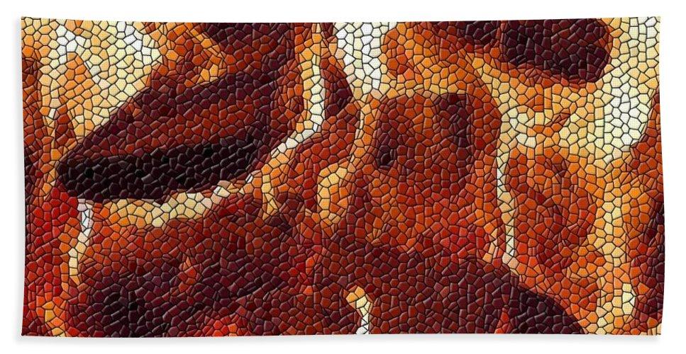 Wood Bath Sheet featuring the digital art Wood Fire Mosaic by Tim Allen