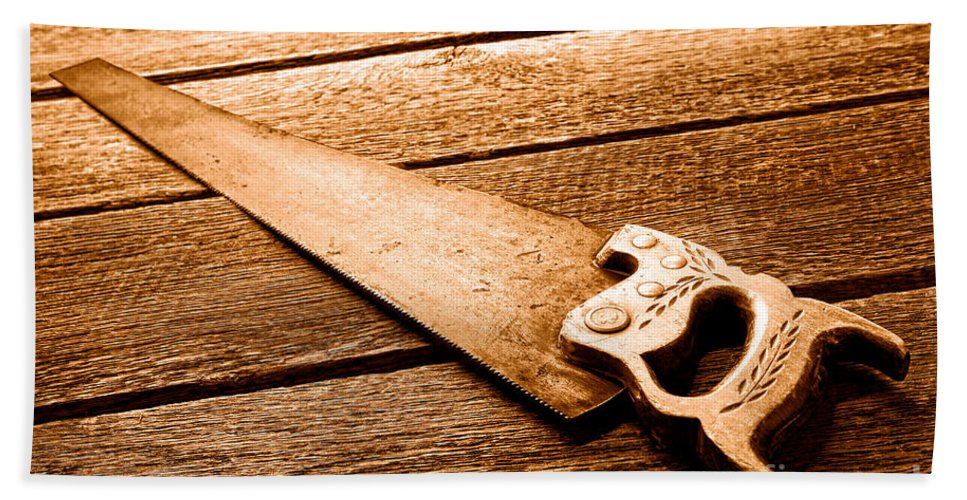 Carpenter Bath Towel featuring the photograph Wood Saw - Sepia by Olivier Le Queinec
