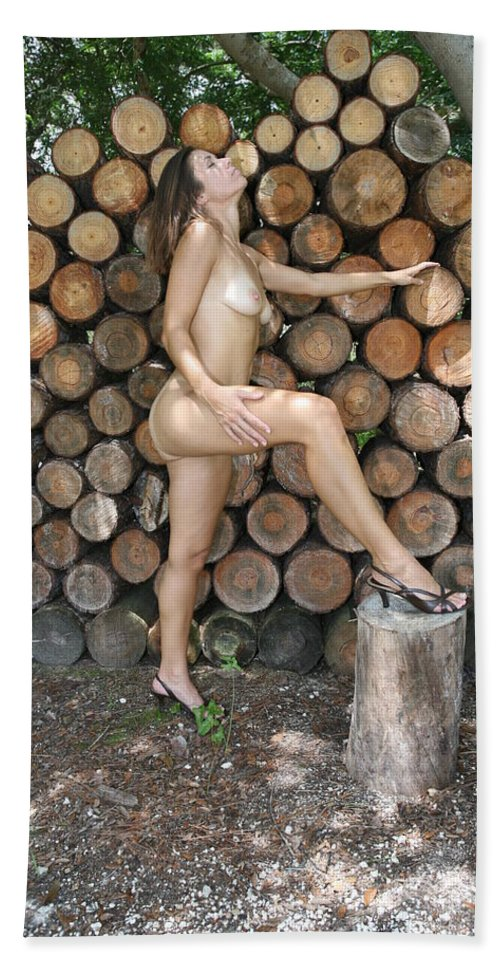 Female Nude Natural Nude Sexy Exotic Glamorous Nude Natural Settings Hand Towel featuring the photograph Wood Shed 269 by Lucky Cole