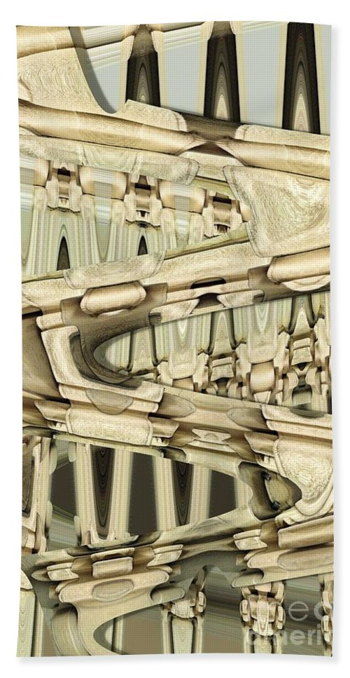Abstract Hand Towel featuring the digital art Wood Sine by Ron Bissett