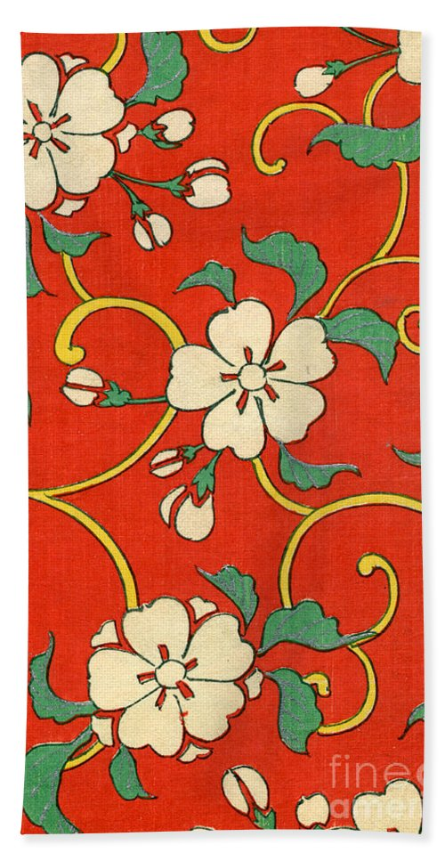 Floral Bath Towel featuring the painting Woodblock Print Of Apple Blossoms by Japanese School