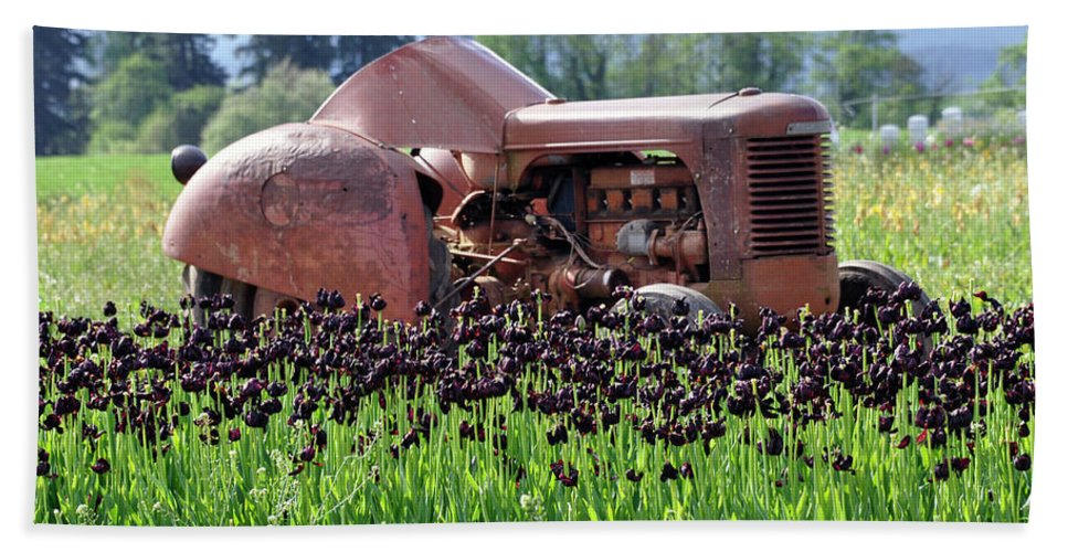 Woodburn Bath Sheet featuring the photograph Woodburn Oregon - Tractor And Field Of Tulips by Image Takers Photography LLC - Laura Morgan