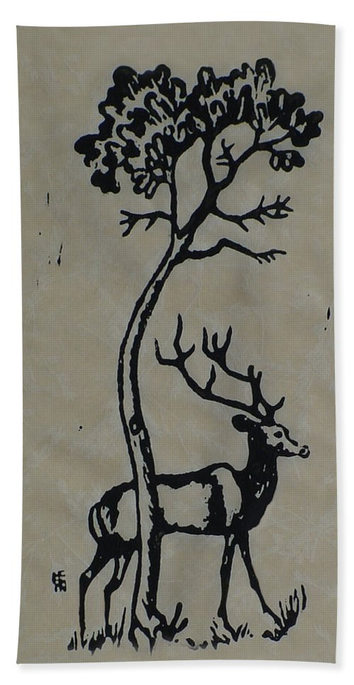 Woodcut Hand Towel featuring the mixed media Woodcut Deer by Shirley Heyn
