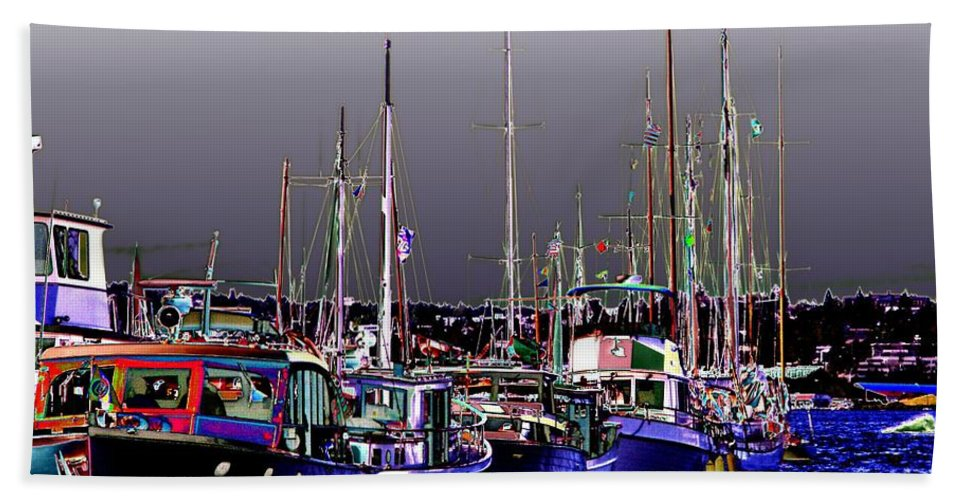 Seattle Bath Sheet featuring the digital art Wooden Boats 2 by Tim Allen