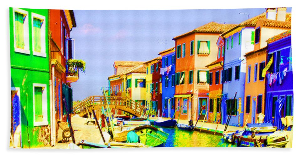 Burano Bath Towel featuring the pastel Wooden Bridge To Despar by Donna Corless