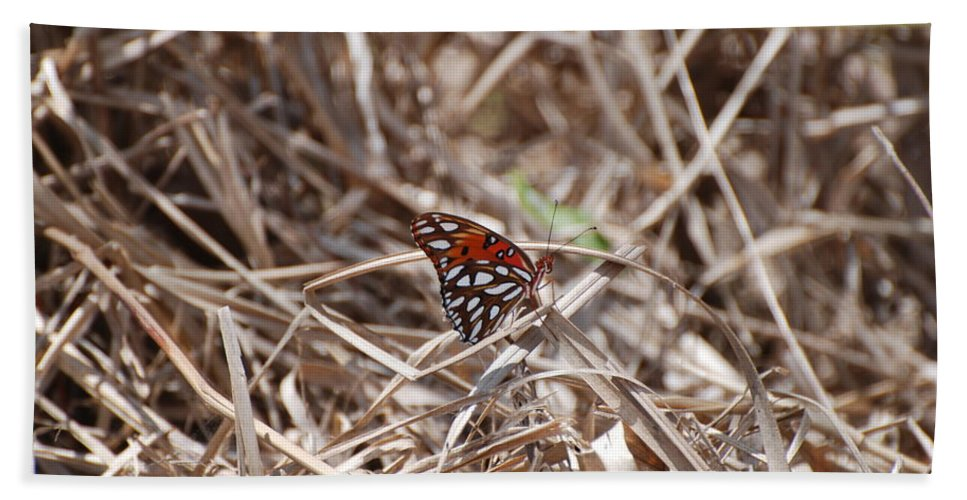 Butterfly Hand Towel featuring the photograph Wooden Butterfly by Rob Hans