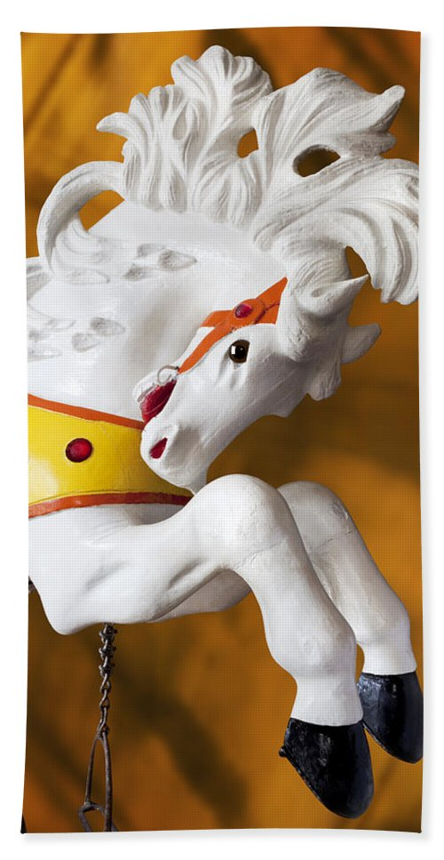 Merry Go Round Hand Towel featuring the photograph Wooden Horse 1 by Kelley King